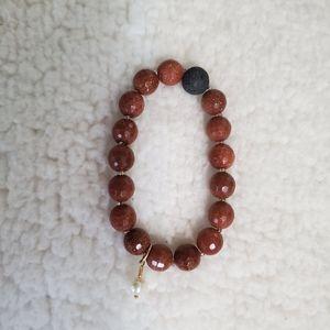 Goldstone and Pearl Aromatherapy Bracelet